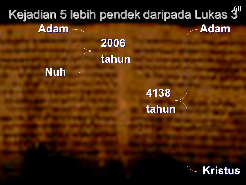 Kejadian 5 lebih pendek daripada Lukas 3