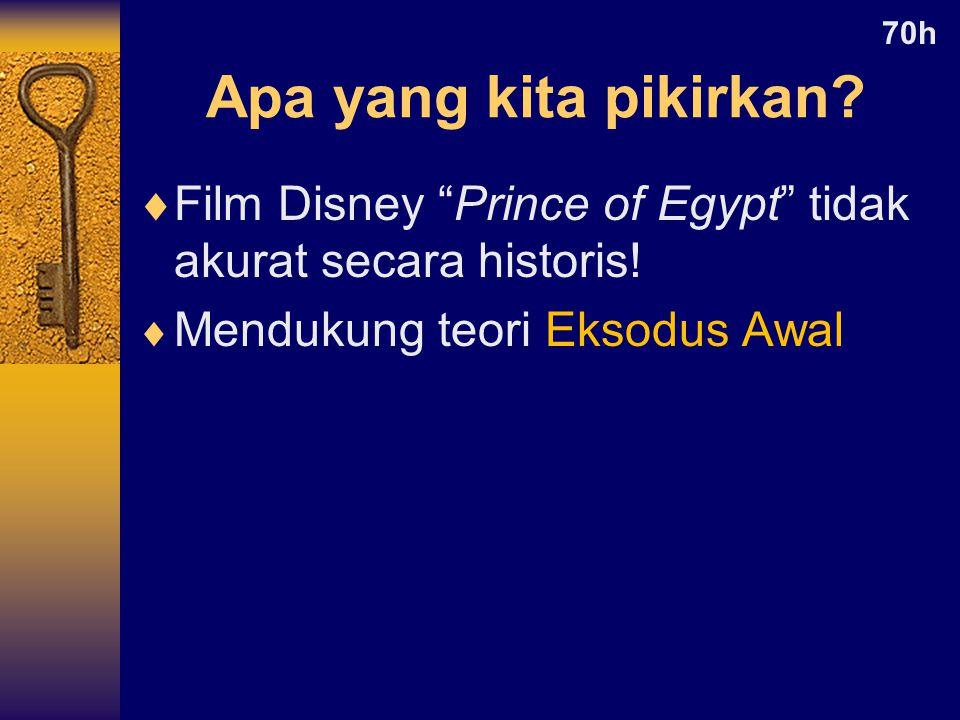 70h Apa yang kita pikirkan. Film Disney Prince of Egypt tidak akurat secara historis.