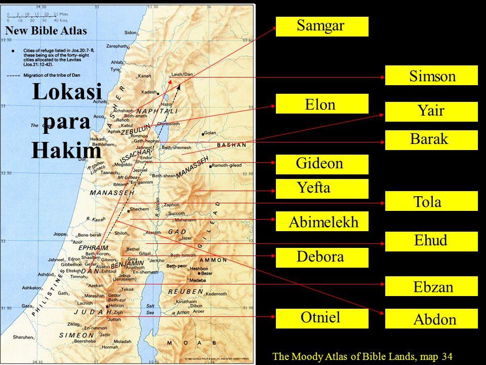 Lokasi para Hakim Samgar Simson Elon Yair Barak Gideon Yefta Tola