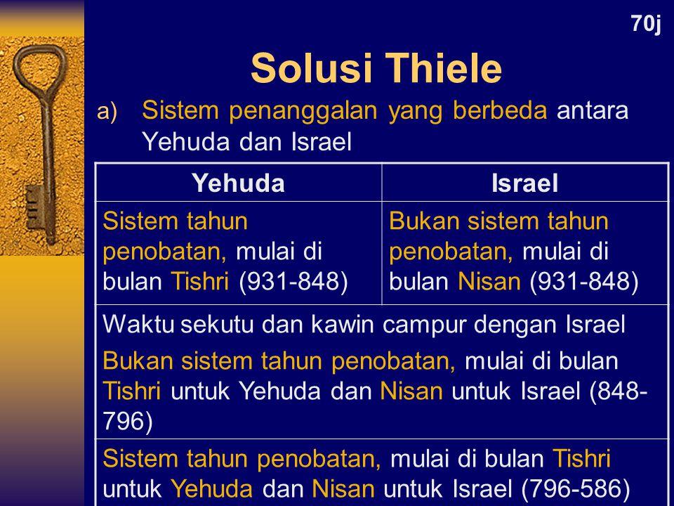 Solusi Thiele Sistem penanggalan yang berbeda antara Yehuda dan Israel