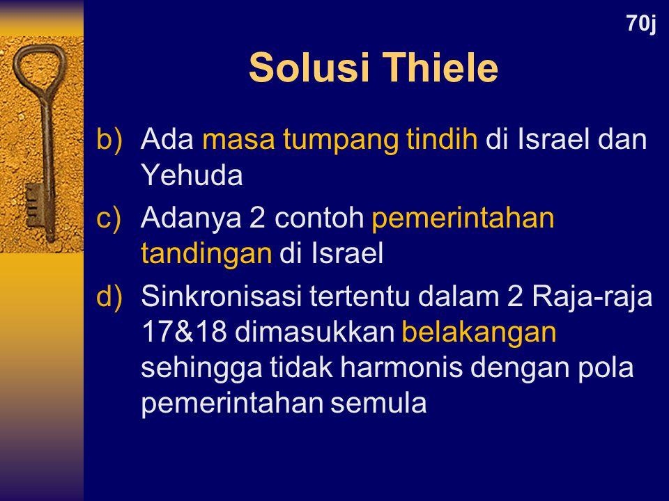 Solusi Thiele Ada masa tumpang tindih di Israel dan Yehuda