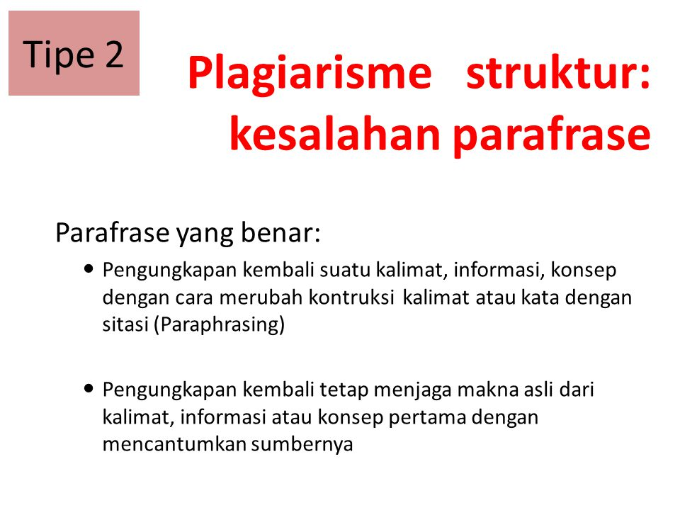 Plagiarisme struktur: kesalahan parafrase