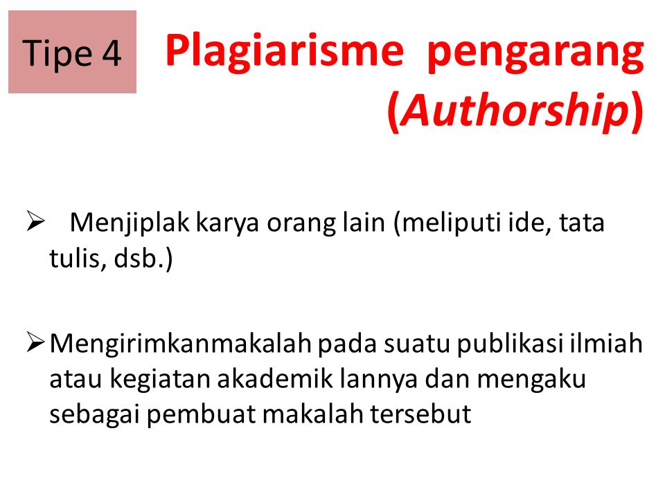 Plagiarisme pengarang (Authorship)