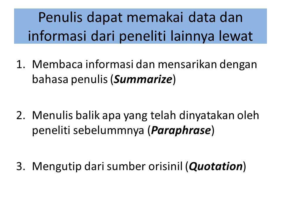 Penulis dapat memakai data dan informasi dari peneliti lainnya lewat