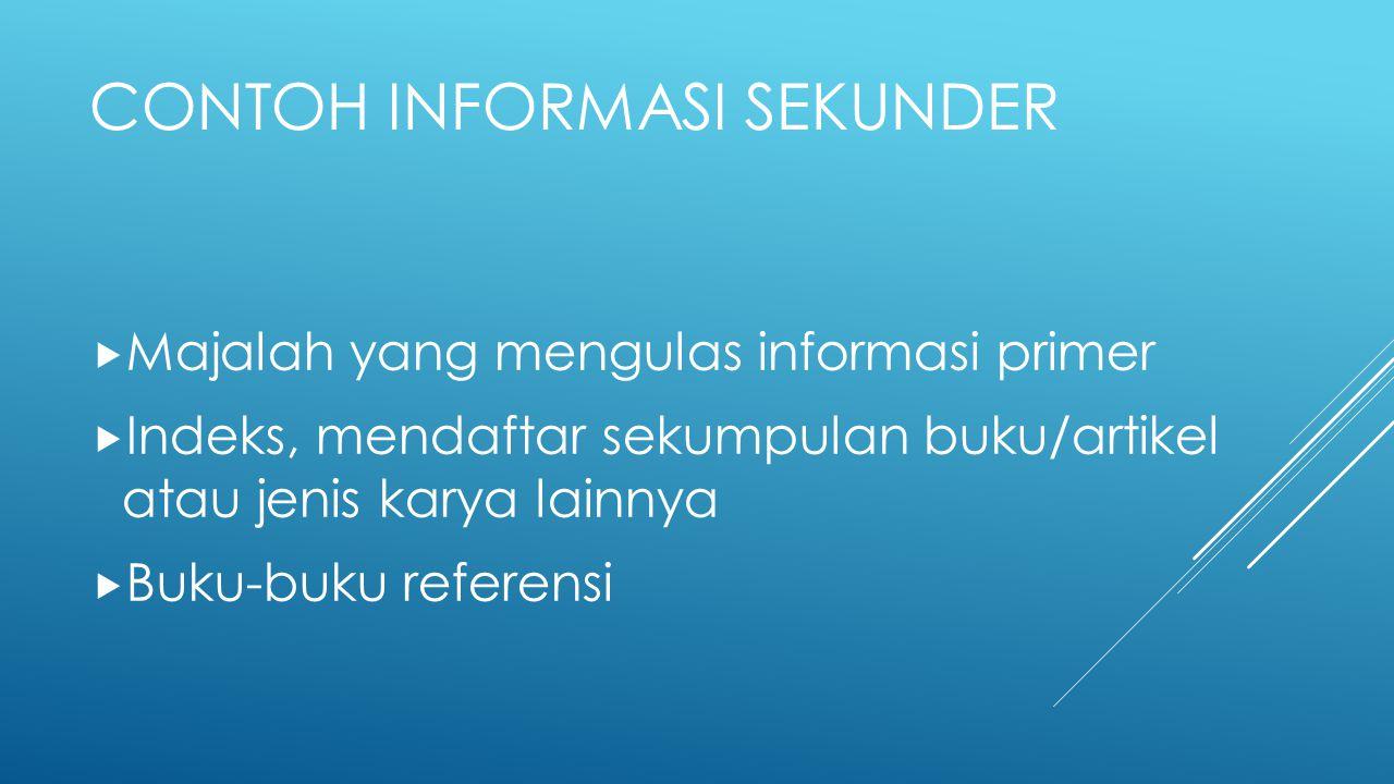 Contoh Informasi Sekunder
