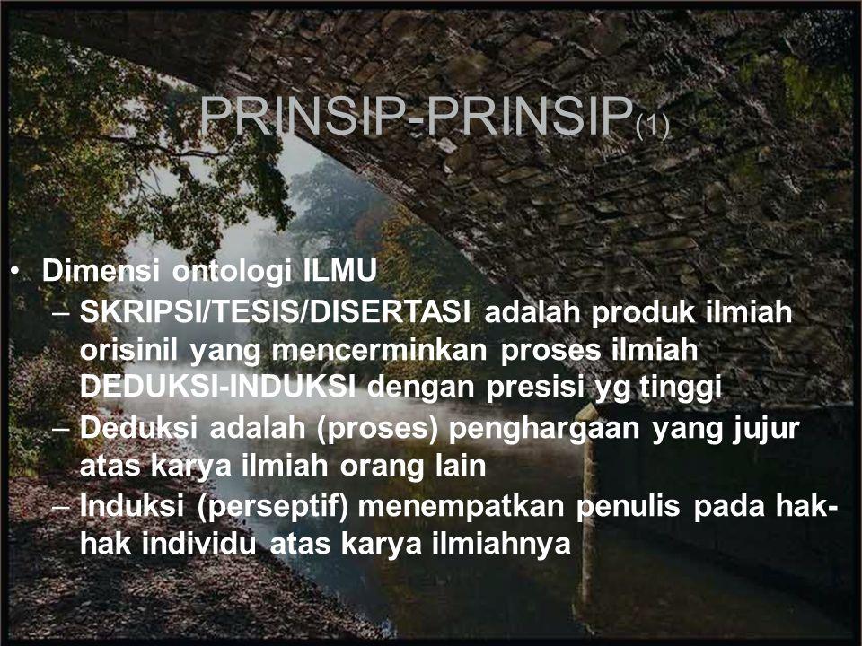PRINSIP-PRINSIP(1) Dimensi ontologi ILMU