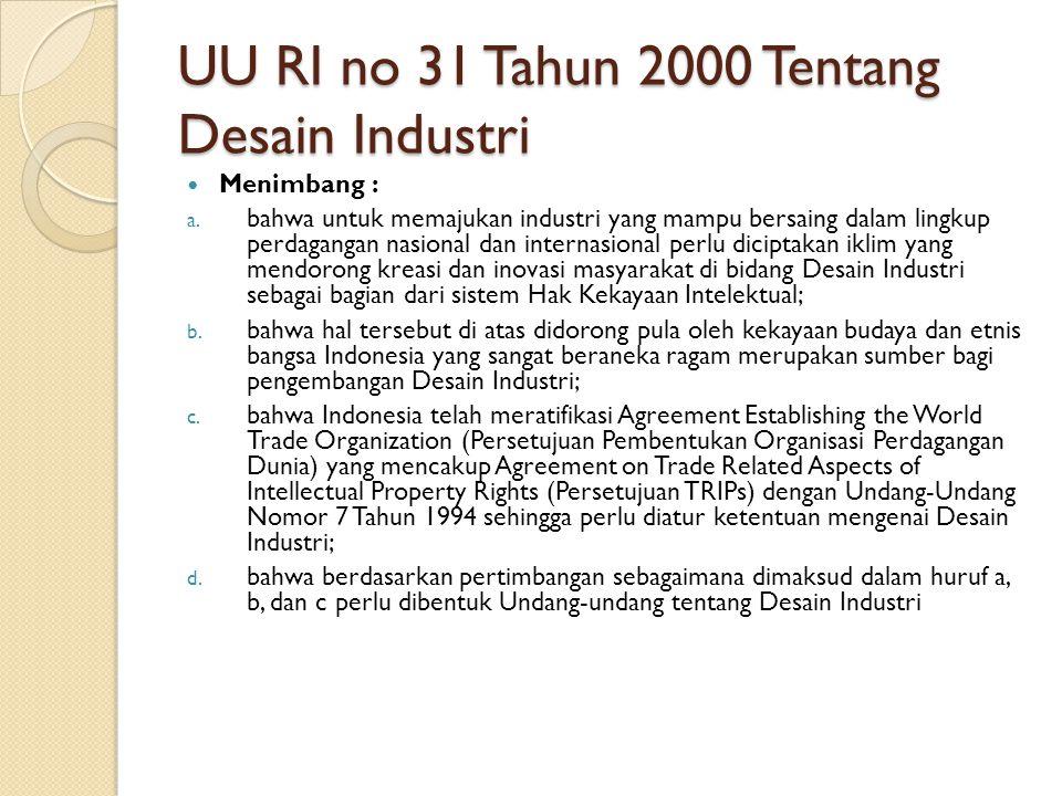 UU RI no 31 Tahun 2000 Tentang Desain Industri
