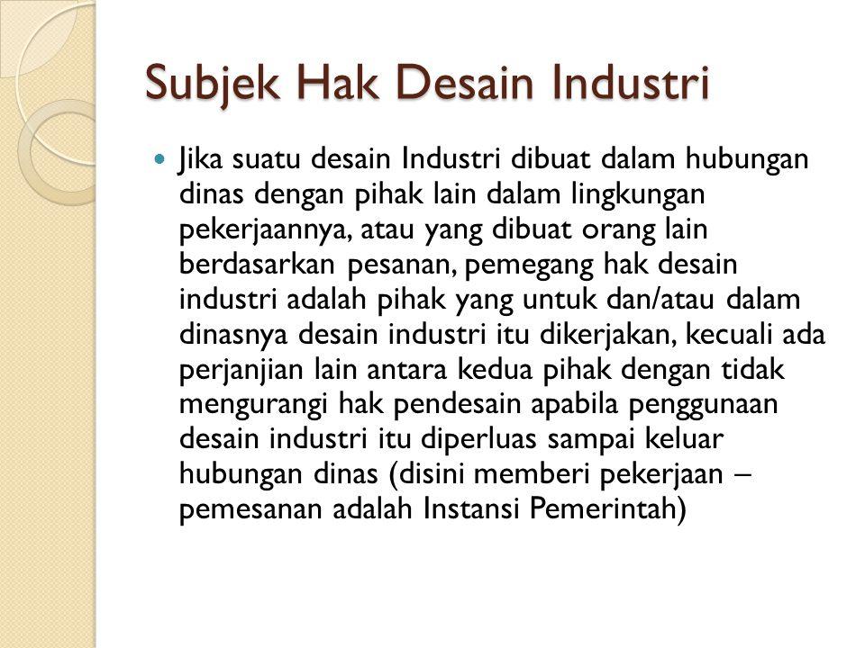 Subjek Hak Desain Industri