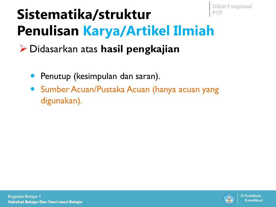 Sistematika/struktur Penulisan Karya/Artikel Ilmiah