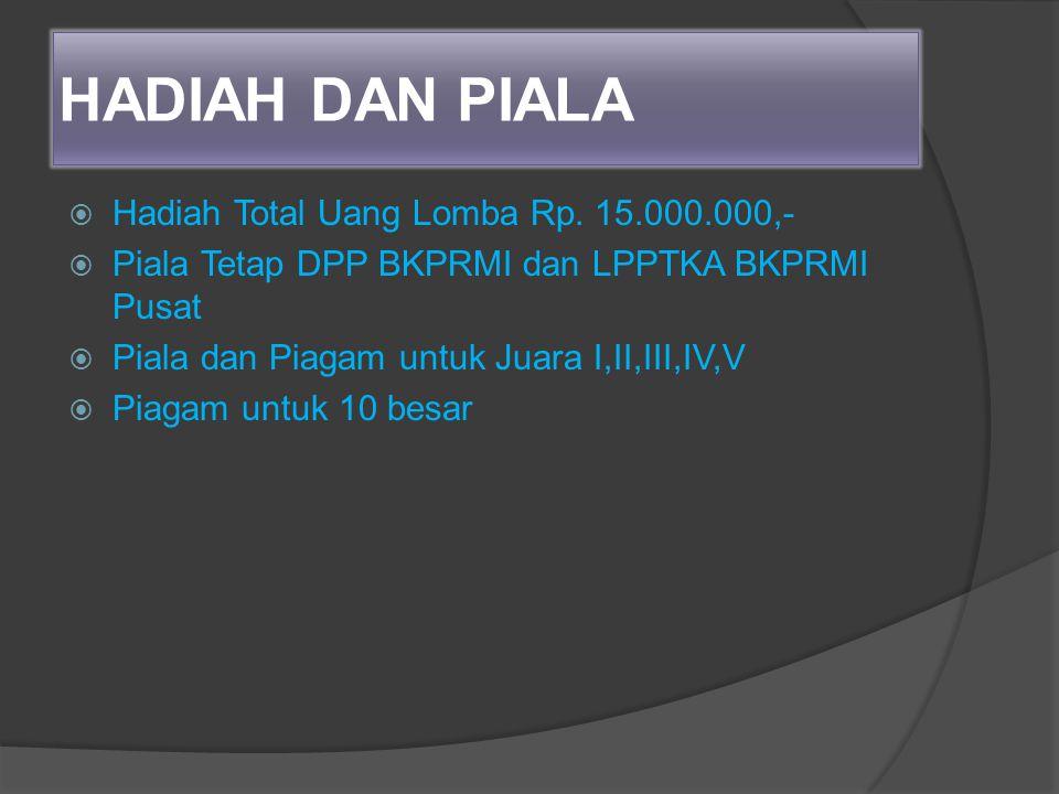 HADIAH DAN PIALA Hadiah Total Uang Lomba Rp. 15.000.000,-