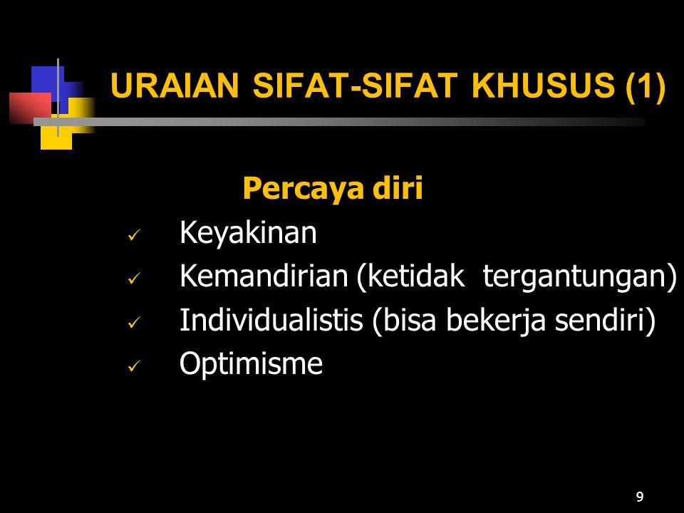 URAIAN SIFAT-SIFAT KHUSUS (1)
