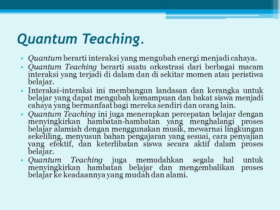 Quantum Teaching. Quantum berarti interaksi yang mengubah energi menjadi cahaya.