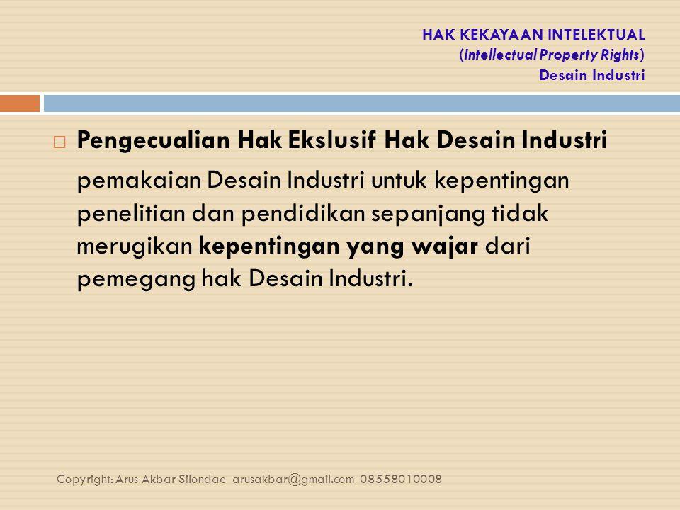 Pengecualian Hak Ekslusif Hak Desain Industri