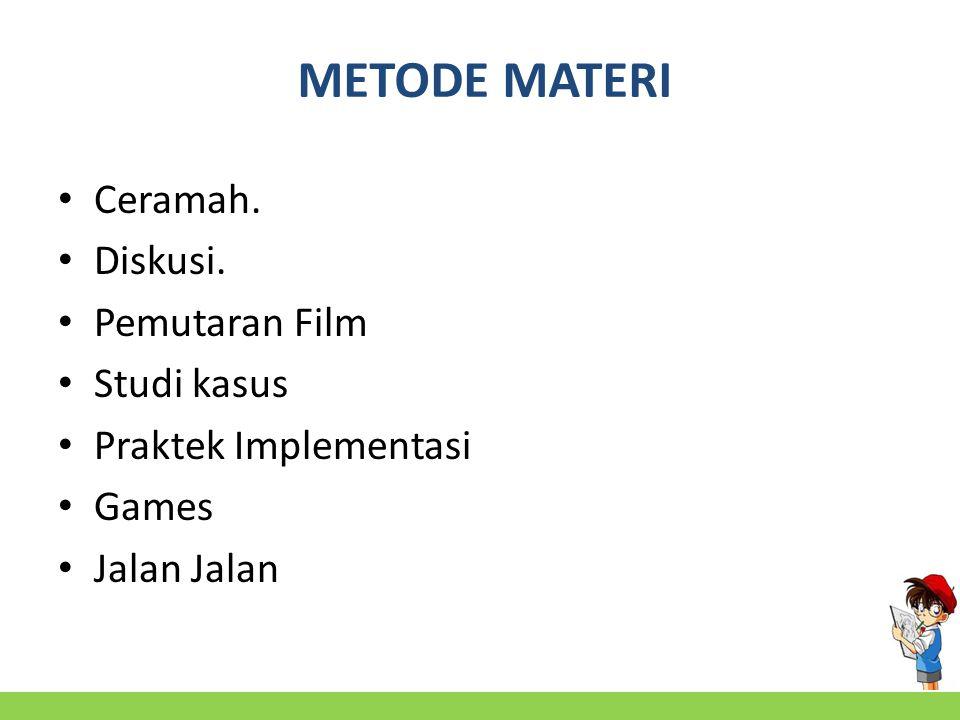 METODE MATERI Ceramah. Diskusi. Pemutaran Film Studi kasus