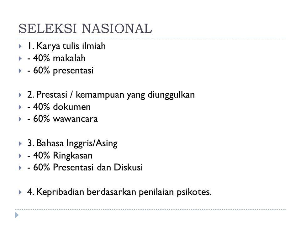 SELEKSI NASIONAL 1. Karya tulis ilmiah - 40% makalah - 60% presentasi