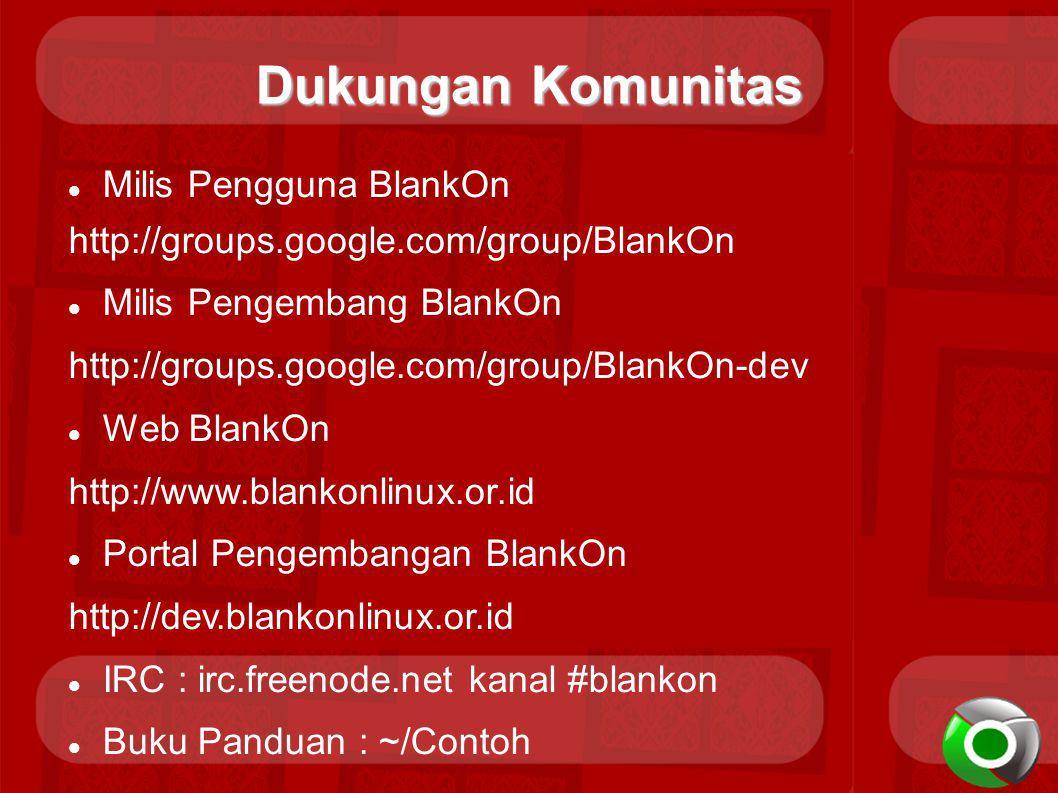 Dukungan Komunitas Milis Pengguna BlankOn