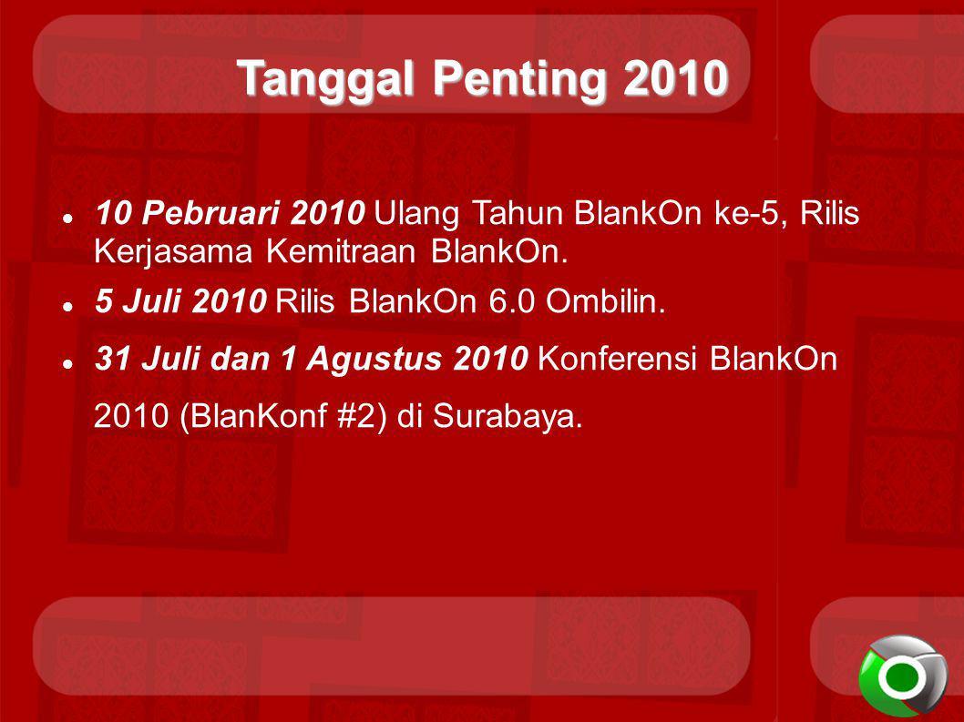 Tanggal Penting 2010 10 Pebruari 2010 Ulang Tahun BlankOn ke-5, Rilis Kerjasama Kemitraan BlankOn. 5 Juli 2010 Rilis BlankOn 6.0 Ombilin.