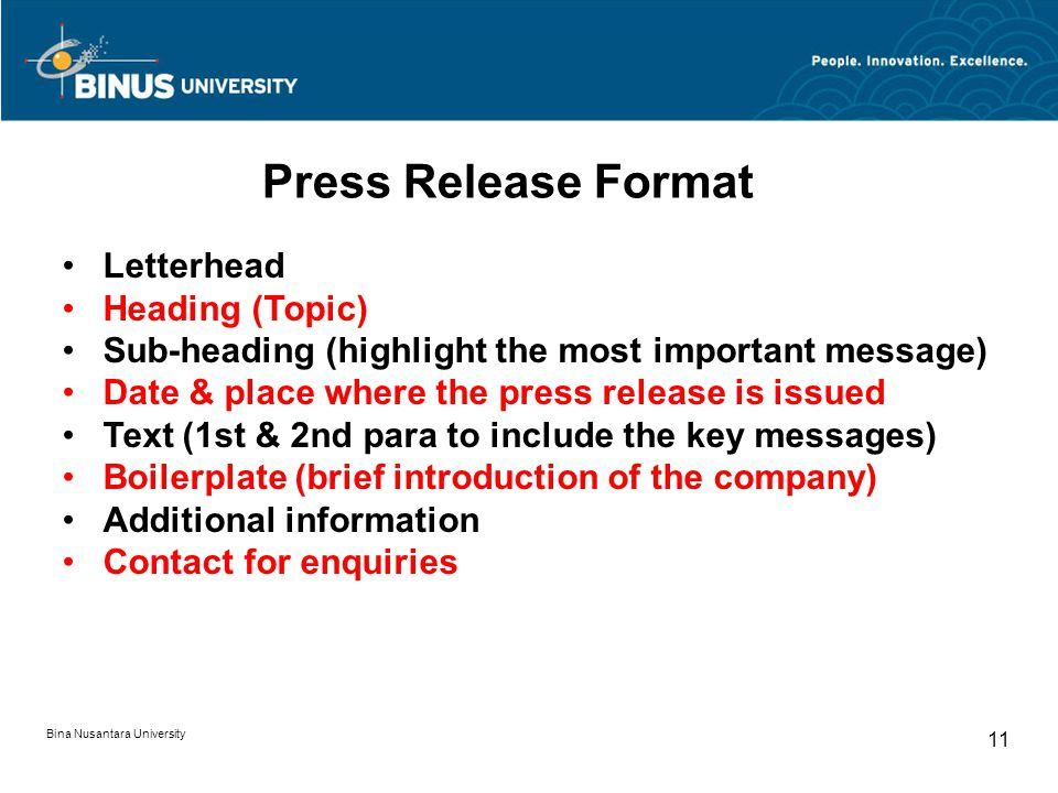 Press Release Format Letterhead Heading (Topic)