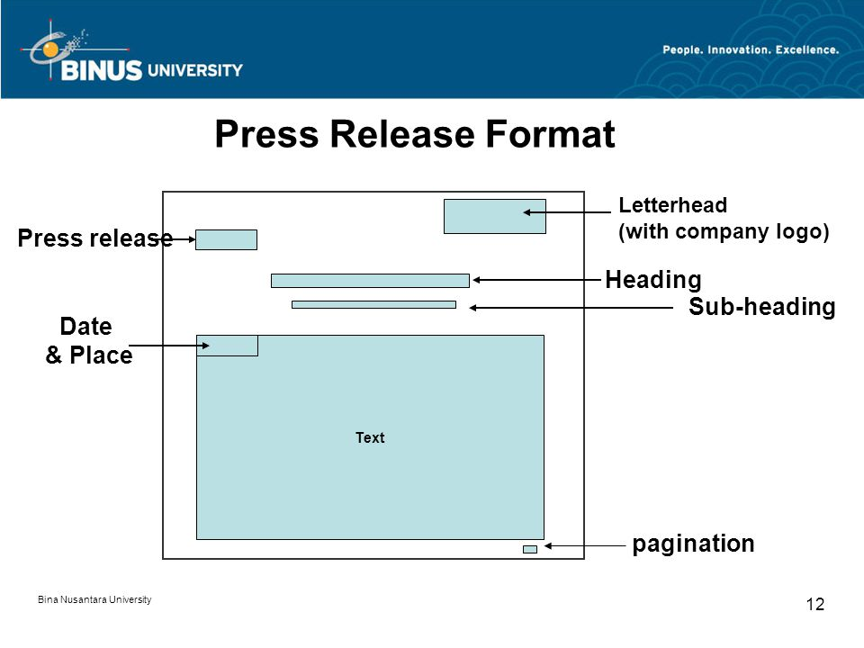 Press Release Format Press release Heading Sub-heading Date & Place