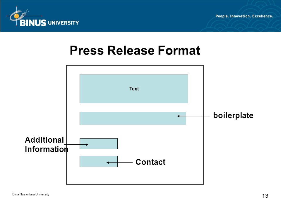 Press Release Format boilerplate Additional Information Contact 13