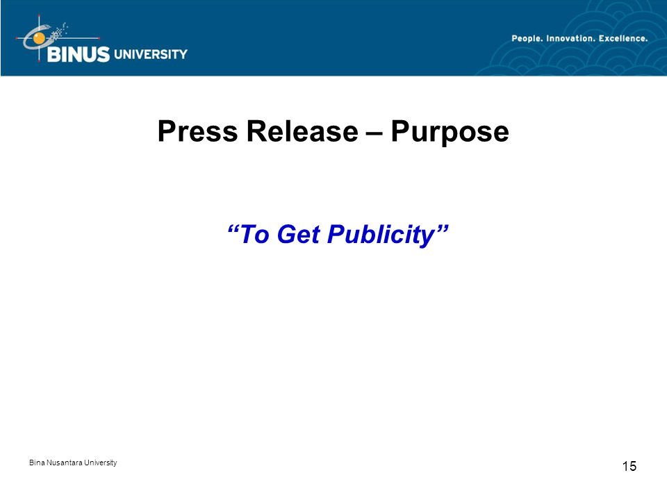 Press Release – Purpose