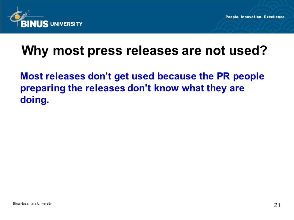 Why most press releases are not used