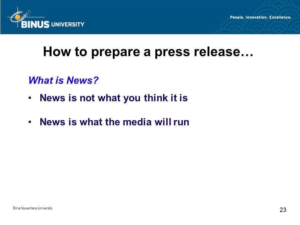 How to prepare a press release…