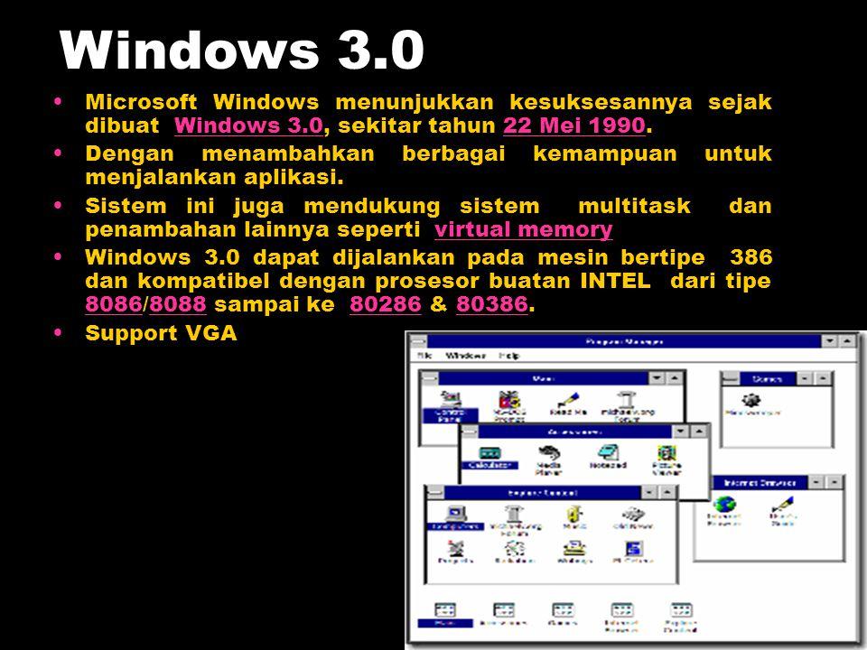 Windows 3.0 Microsoft Windows menunjukkan kesuksesannya sejak dibuat Windows 3.0, sekitar tahun 22 Mei 1990.