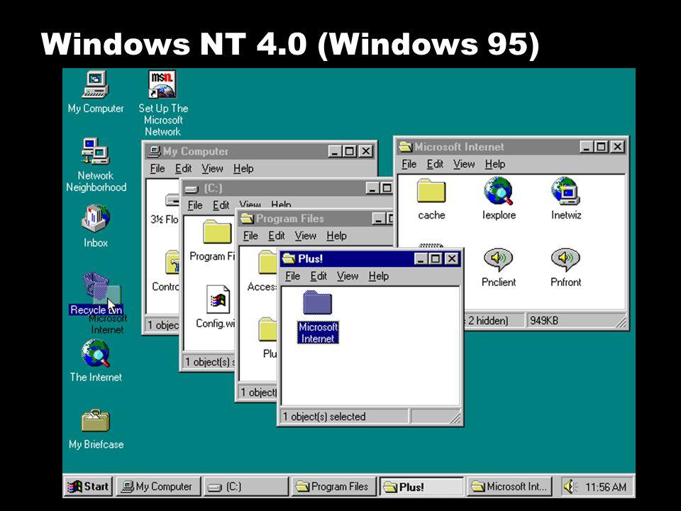 Windows NT 4.0 (Windows 95) Microsoft mengeluarkan Windows NT 4.0, sebagai kelanjutan dari Windows 95 yang terlebih dahulu dirilis.