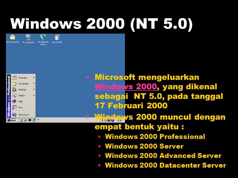 Windows 2000 (NT 5.0) Microsoft mengeluarkan Windows 2000, yang dikenal sebagai NT 5.0, pada tanggal 17 Februari 2000.