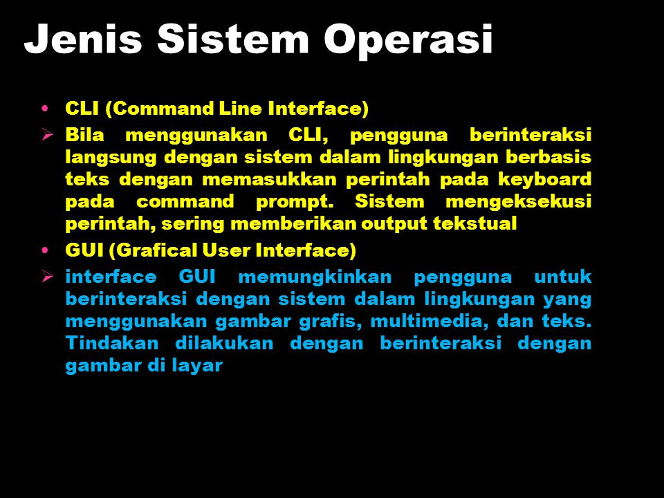 Jenis Sistem Operasi CLI (Command Line Interface)