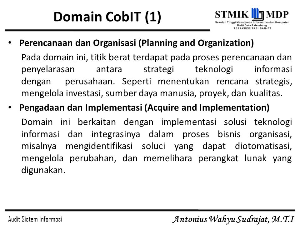 Domain CobIT (1) Perencanaan dan Organisasi (Planning and Organization)