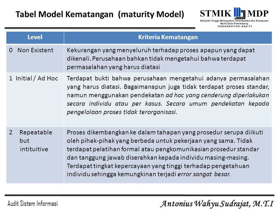 Tabel Model Kematangan (maturity Model)