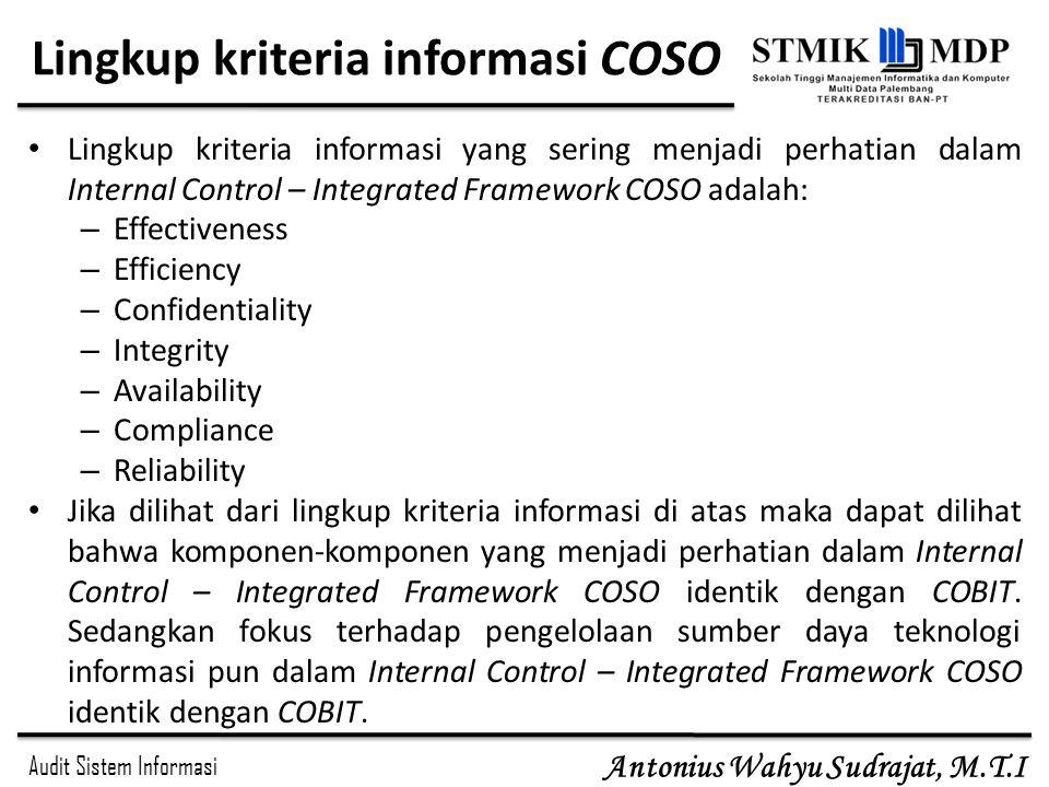 Lingkup kriteria informasi COSO