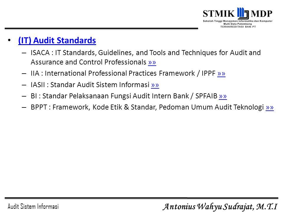 (IT) Audit Standards ISACA : IT Standards, Guidelines, and Tools and Techniques for Audit and Assurance and Control Professionals »»