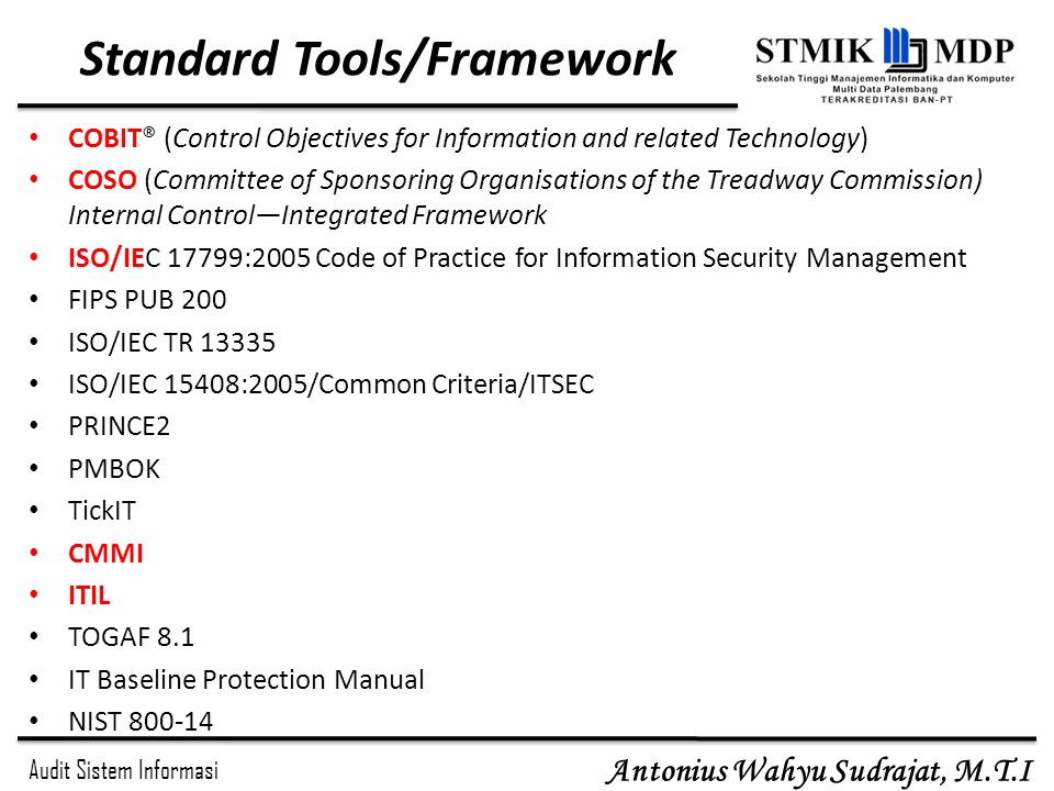 Standard Tools/Framework
