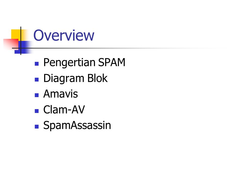 Overview Pengertian SPAM Diagram Blok Amavis Clam-AV SpamAssassin