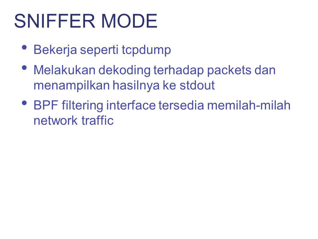 SNIFFER MODE Bekerja seperti tcpdump