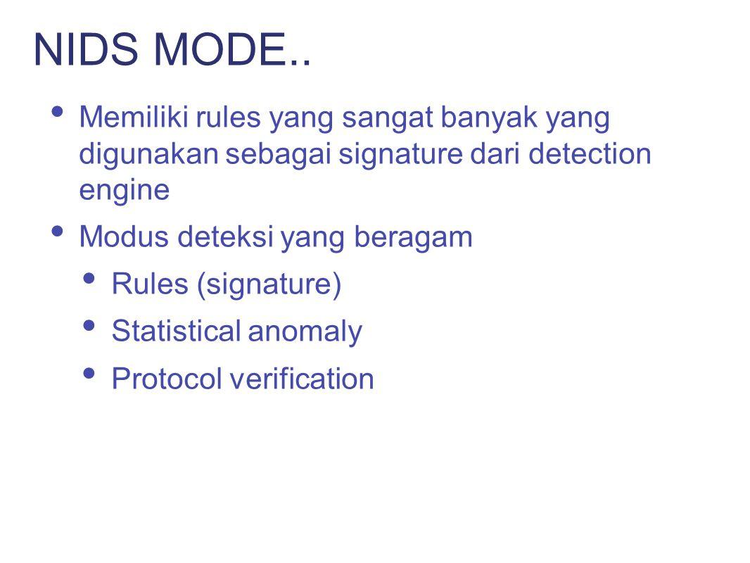 NIDS MODE.. Memiliki rules yang sangat banyak yang digunakan sebagai signature dari detection engine.