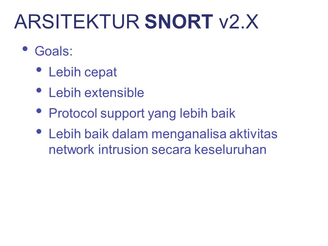 ARSITEKTUR SNORT v2.X Goals: Lebih cepat Lebih extensible