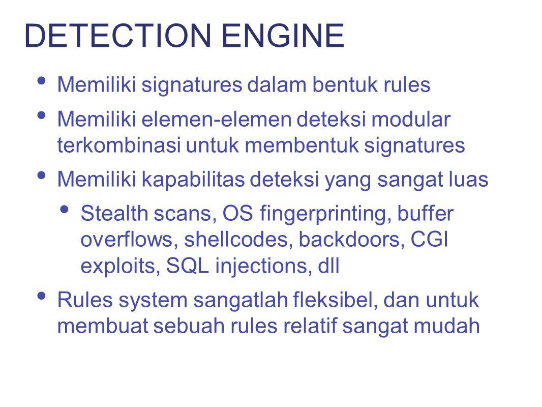 DETECTION ENGINE Memiliki signatures dalam bentuk rules
