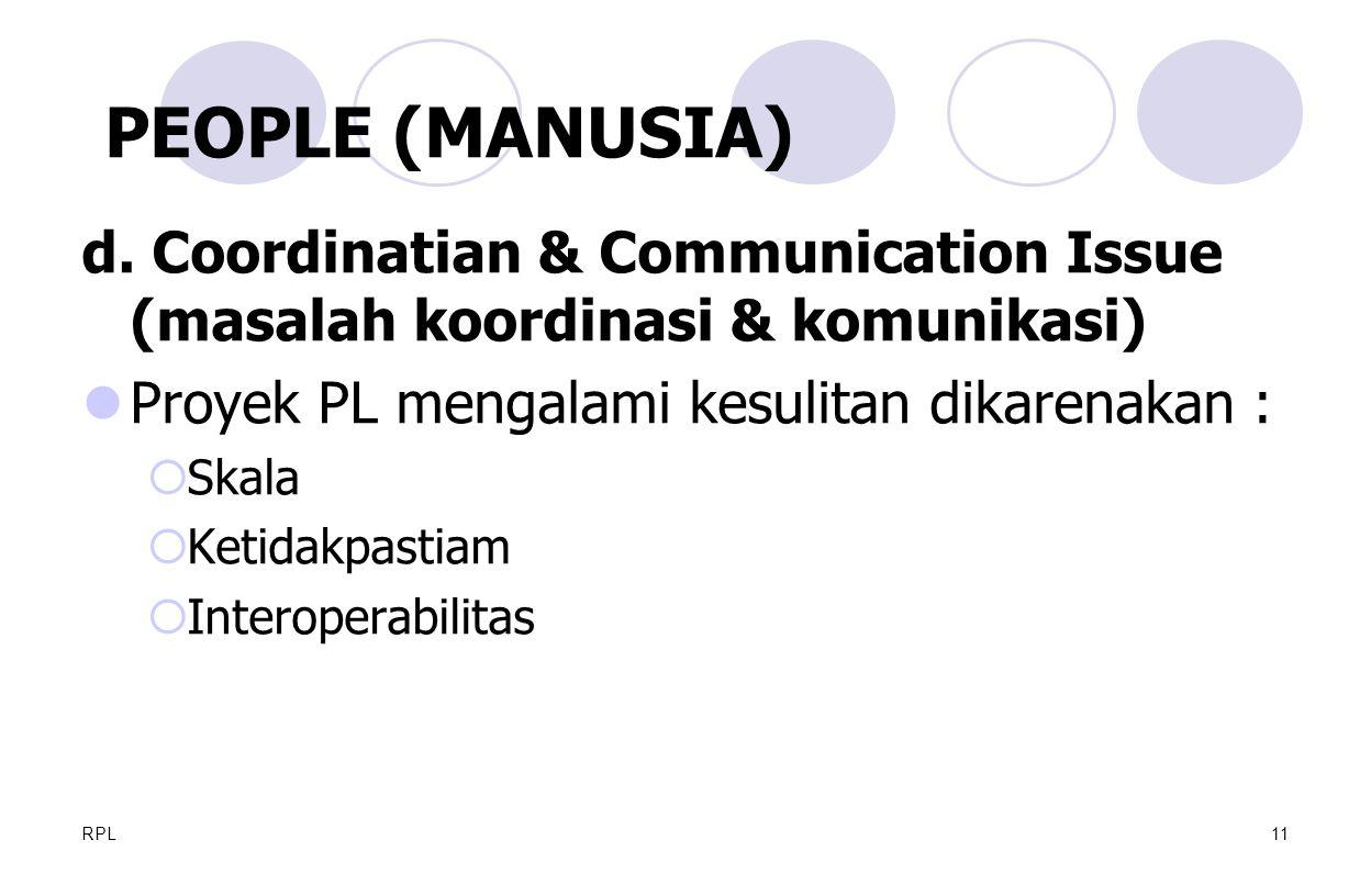 PEOPLE (MANUSIA) d. Coordinatian & Communication Issue (masalah koordinasi & komunikasi) Proyek PL mengalami kesulitan dikarenakan :