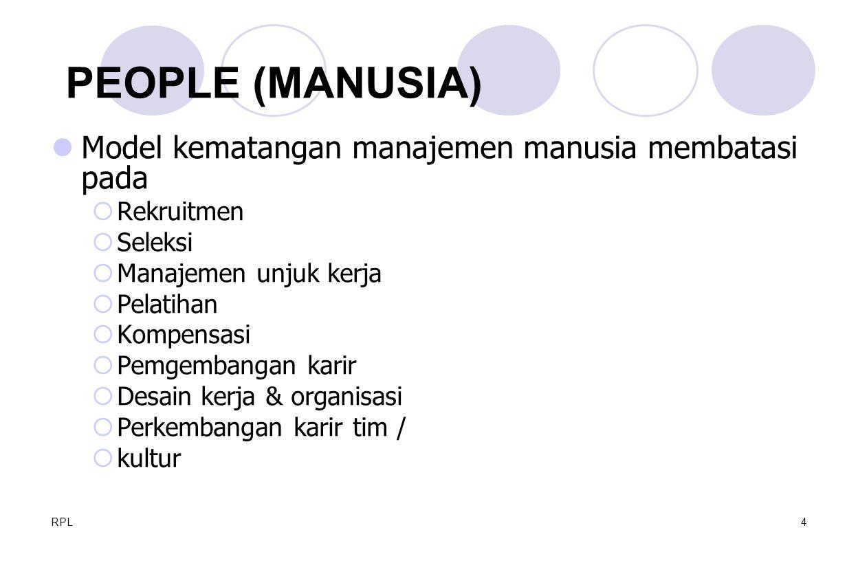 PEOPLE (MANUSIA) Model kematangan manajemen manusia membatasi pada