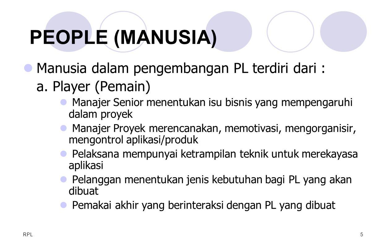 PEOPLE (MANUSIA) Manusia dalam pengembangan PL terdiri dari :