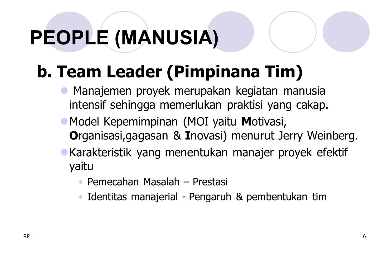 PEOPLE (MANUSIA) b. Team Leader (Pimpinana Tim)