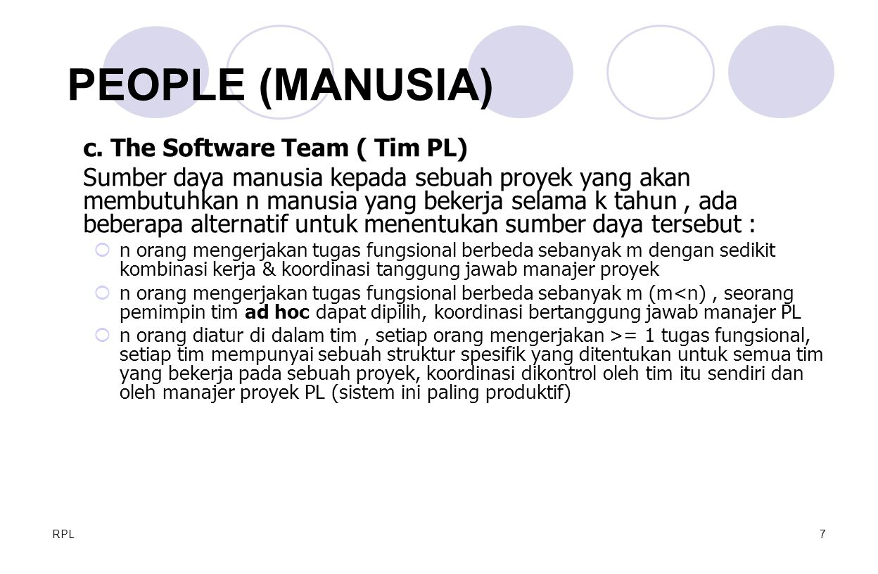 PEOPLE (MANUSIA) c. The Software Team ( Tim PL)