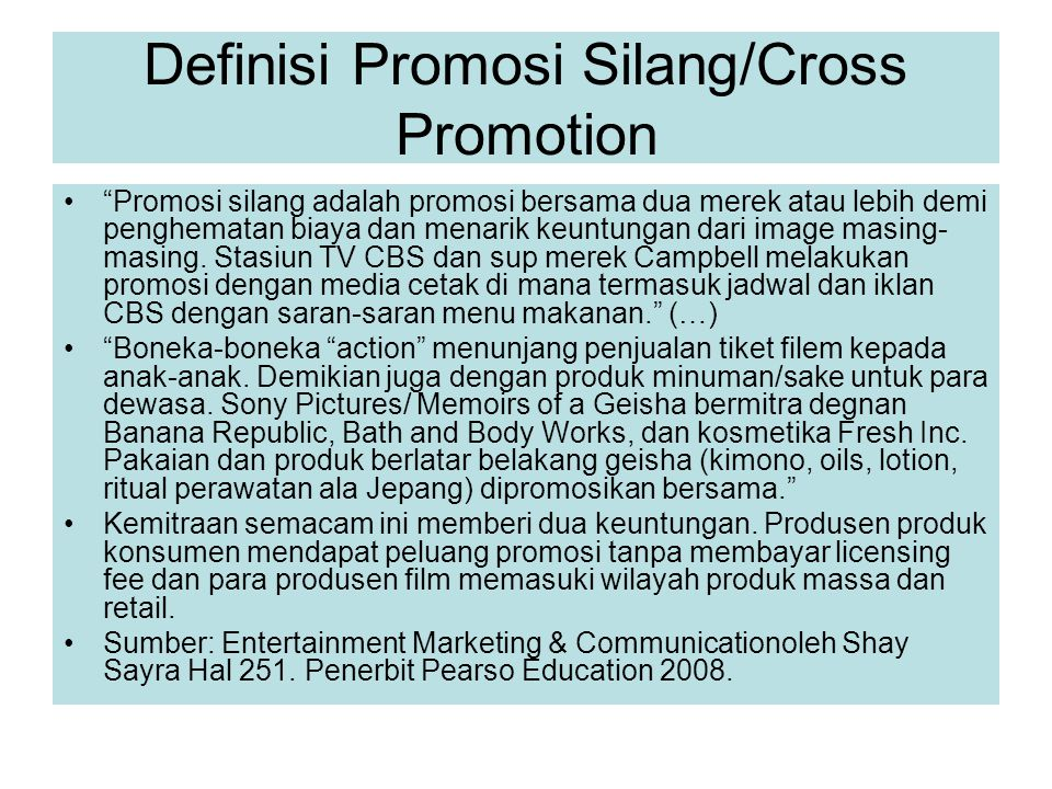 Definisi Promosi Silang/Cross Promotion