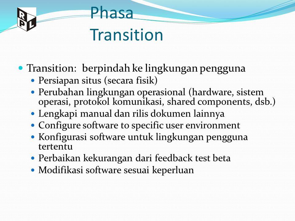 Phasa Transition Transition: berpindah ke lingkungan pengguna