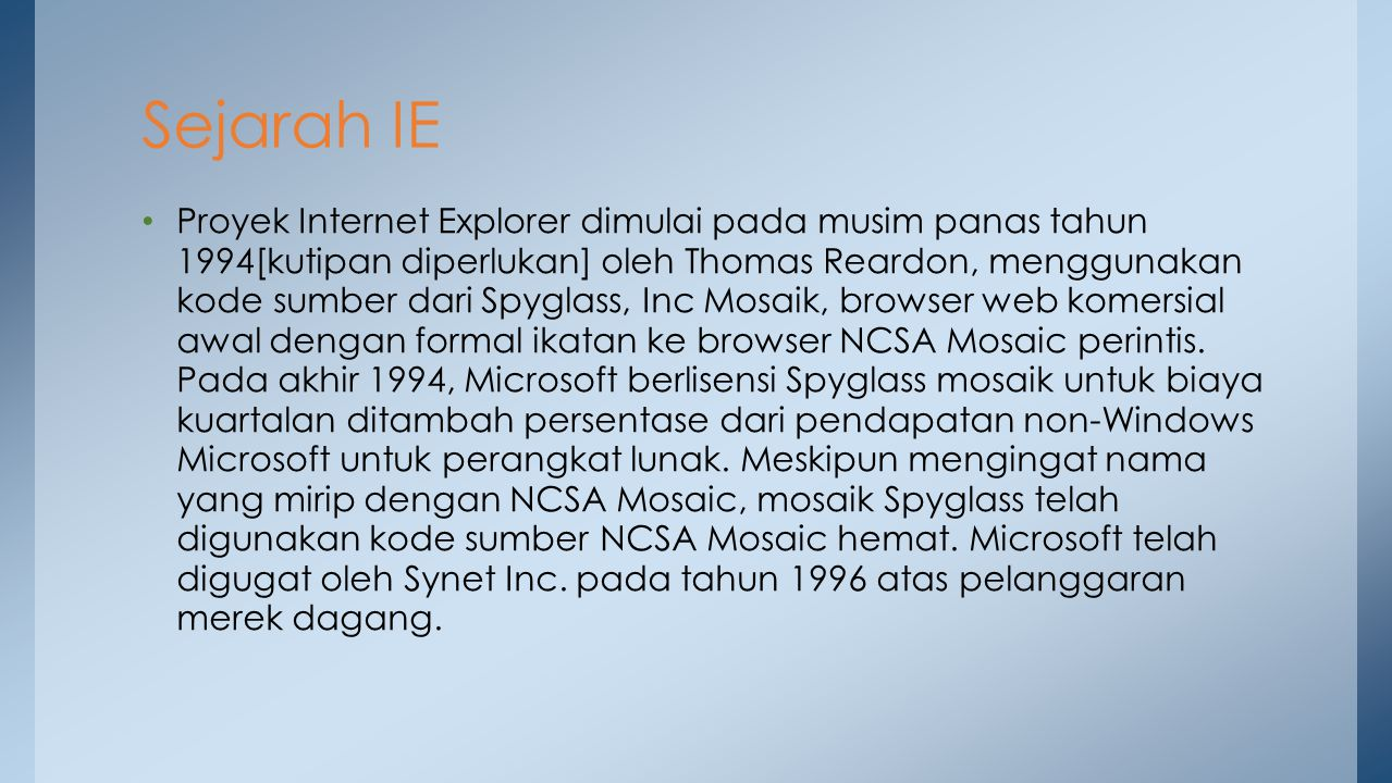 Sejarah IE