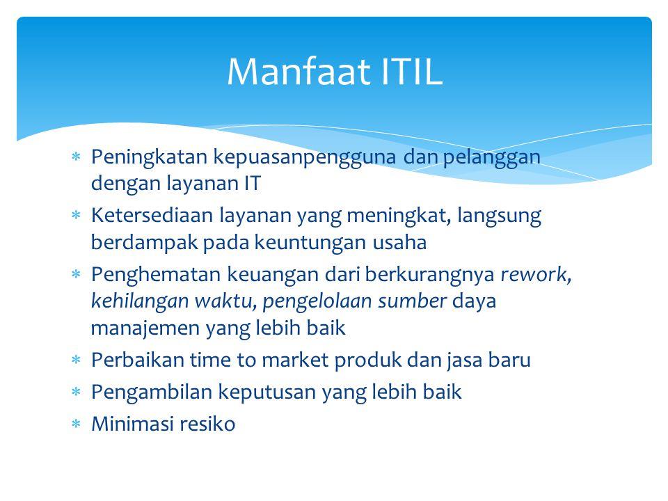 Manfaat ITIL Peningkatan kepuasanpengguna dan pelanggan dengan layanan IT.